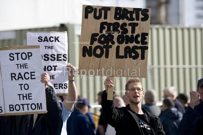 Put Brits first for once. Picket at the refinery. Total sacked 900 striking contract workers at Lindsey oil refinery in Lincolnshire - John Harris - 2009-06-19