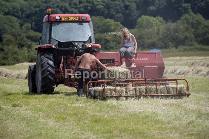 Bailing hay on a farm in Wawickshire - John Harris - 2009-06-24