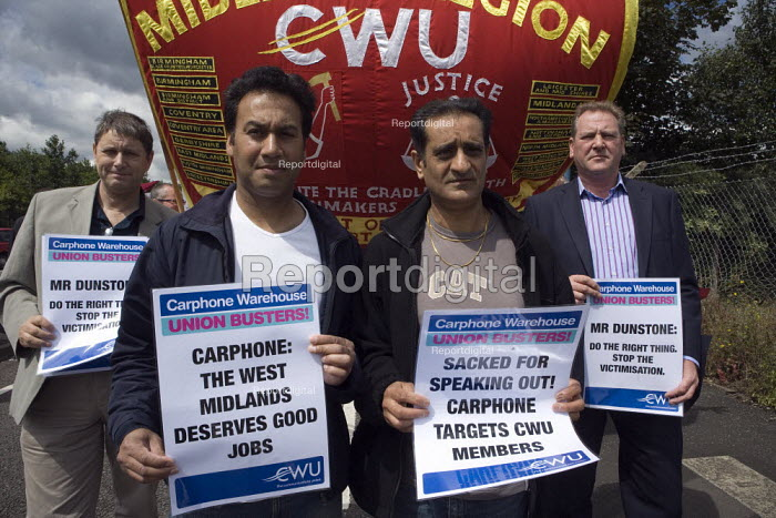 CWU protest against the victimisation of officials at carphone Warehouse. Sulinder Kumar and Kulwinder Plaha and Andy Kerr, CWU dep gen sec. - John Harris - 2009-07-18