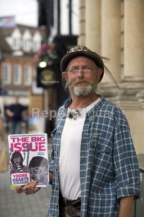 The Big Issue seller on the High Street, Stratford on Avon. - John Harris - 2009-07-15