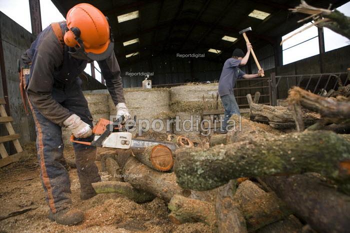 Farmworkers cutting up trees for firewood on a farm in Warwickshire - John Harris - 2009-10-12