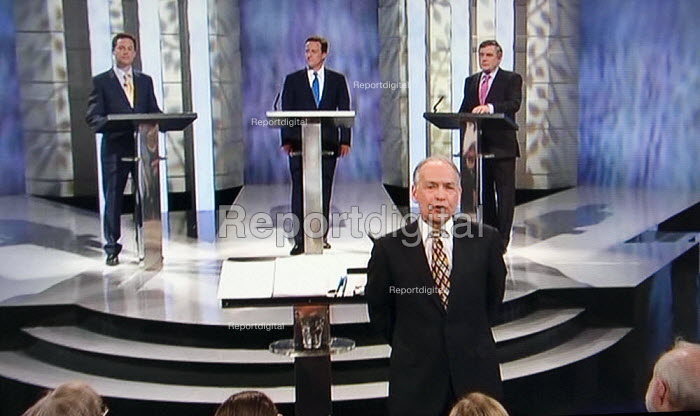 The first election debate on television. Nick Clegg, David Cameron and Gordon Brown on ITV - John Harris - 2010-04-15
