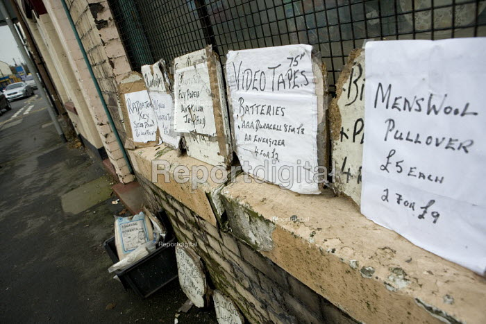 Signs advertising goods for sale outside a local corner shop, The Potteries, Stoke on Trent - John Harris - 2010-10-08