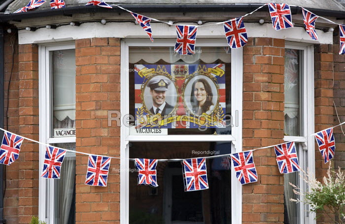 Bunting and a commemorative poster of the Royal couple, Royal Wedding Day, Stratford upon Avon, Warwickshire - John Harris - 2011-04-29