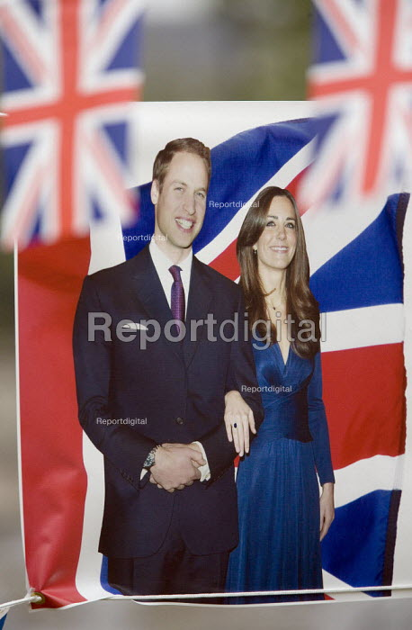 Royal Wedding banner and bunting showing Prince William and Kate Middleton in a pub garden in Stratford on Avon, Warwickshire. - John Harris - 2011-04-18