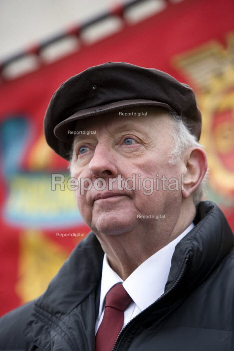 Arthur Scargill, NUM. Commemoration of the events of forty years ago when the trade union movement won a victory in what is now known as The Battle of Saltley Gates in support of the NUM miners strike, 1972. Birmingham - John Harris - 2012-02-10