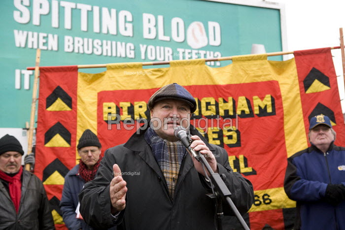 Bob Crow RMT speaking at the commemoration of the events of forty years ago when the trade union movement won a victory in what is now known as The Battle of Saltley Gates in support of the NUM miners strike, 1972. Birmingham - John Harris - 2012-02-10