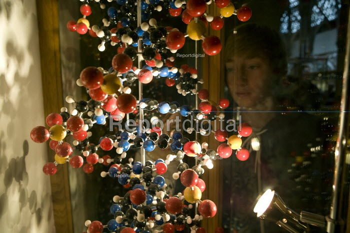Looking at a display of the DNA double helix human genome, Children visiting The Natural History Museum, Oxford. - John Harris - 2012-03-03