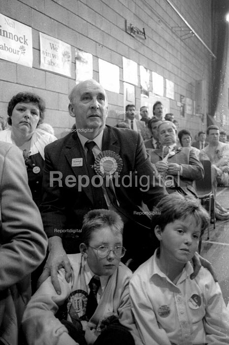 Labour supporters listening to Neil Kinnock give his last speech of the 1987 election campaign at a rally in his constituency, Tredegar, South Wales - John Harris - 1987-06-11