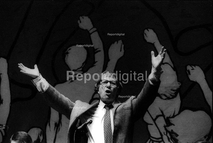 Ted Grant speaking Militant Tendency rally, special conference against the witch-hunt in the Labour Party, London - John Harris - 1982-09-11