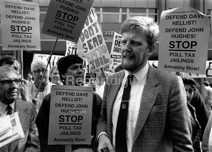 Dave Nellist MP and anti Poll Tax campaigners outside Coventry magistrates court where he refused to pay the Poll Tax (Community Charge) Coventry 1991 - John Harris - 1991-09-17