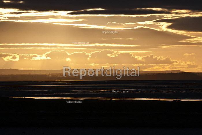 Sunset over the Manchester ship canal, Frodsham Marsh, Runcorn - John Harris - 2013-03-12