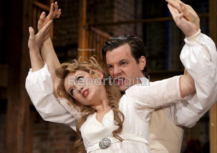 Lucy Briggs-Owen as �Maryna and Gethin Anthony as Grigory Otrepiev. Boris Godunov by Alexander Pushkin. RSC,  Swan, Stratford-upon-Avon - John Harris - 2012-11-26