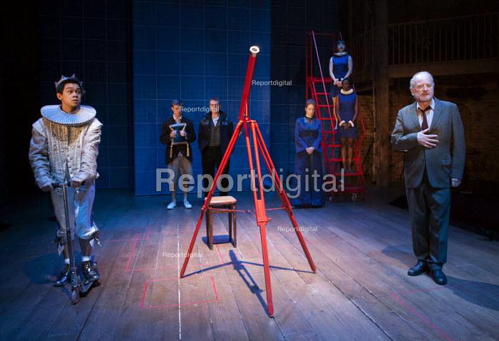 Chris Lew Kum Hoi as Cosimi de Medic and his telescope in A Life of Galileo. RSC, Swan, Stratford-upon-Avon - John Harris - 2013-02-07