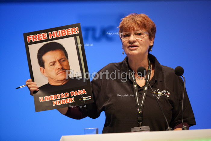 Christine Blower NUT with poster Free Colombian trade union member Huber Ballesteros in prison in Columbia, TUC, Bournemouth 2013 - John Harris - 2013-09-09