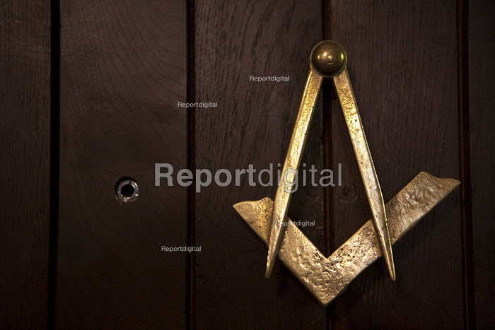 The Masonic Square and Compasses Compass and door peephole, Meridian Lodge, Guy's Cliffe, Warwick, Warwickshire - John Harris - 2013-09-15