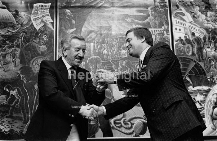 Jim Slater and John Prescott MP. Presentation of a mural painted by Michael Jones (Jack Jones's son) on occasion of Jim Slater's retirements from the NUS, Maritime house, London - John Harris - 1988-11-25