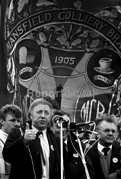 Arthur Scargill speaking to a protest by 15,000 Miners, Mansfield, Nottinghamshire - John Harris - 1984-05-07