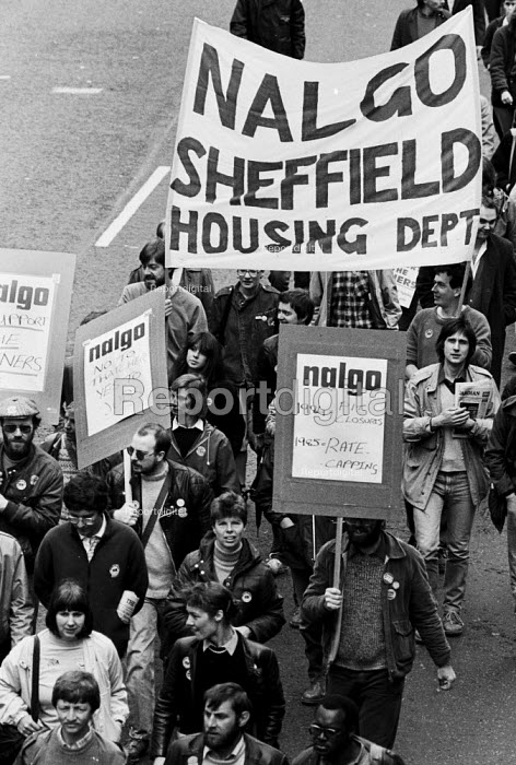 1984 pit closures 1985 rate capping. Day of action in support of the miners strike, Yorkshire and Humberside TUC, Sheffield, Yorkshire - John Smith - 1984-05-21