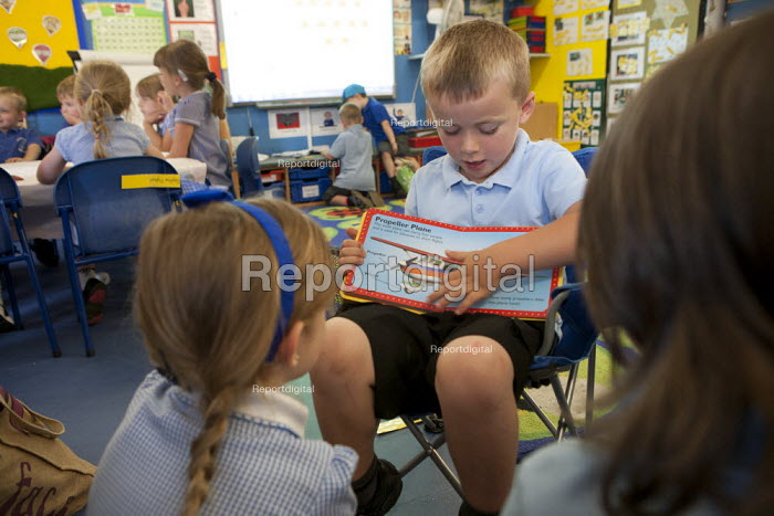 Reading and showing pictures, St Richard's C E First School, Evesham - John Harris - 2014-07-02