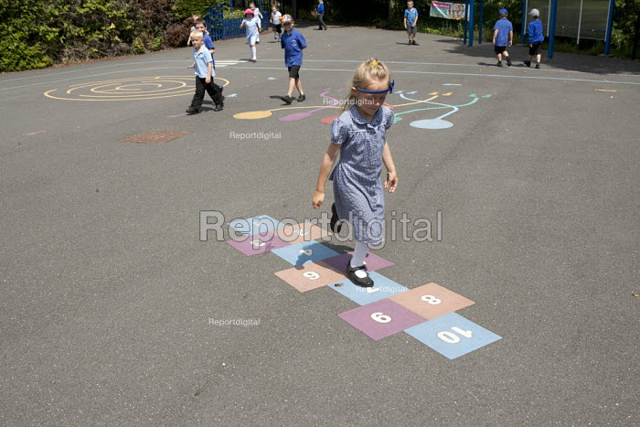 Hopscotch in the playground, St Richard's C E First School, Evesham - John Harris - 2014-07-02