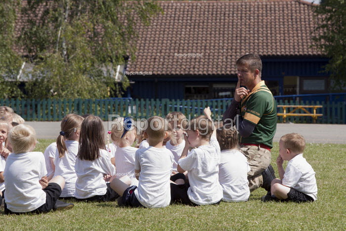 Commando Joe; wake and shake and initiative to improve attendance and punctuality by working with an ex member of the armed forces, playing field, St Richard's C E First School, Evesham - John Harris - 2014-07-02