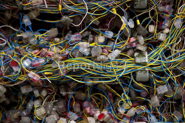 Conventional telephone wiring, BT Openreach PCP street cabinet, Warwickshire - John Harris - 2014-08-18