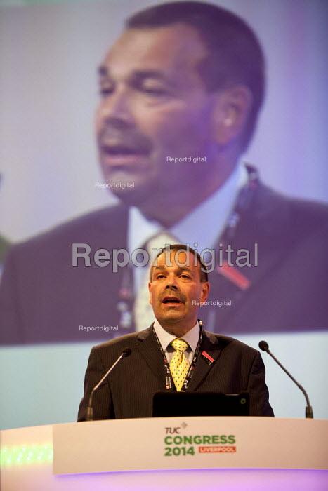 Ian Lawrence Napo gen sec speaking, TUC, Liverpool 2014 - John Harris - 2014-09-09