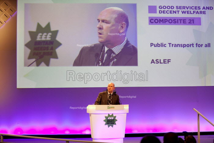 Mick Whelan ASLEF gen sec speaking, TUC, Liverpool 2014 - John Harris - 2014-09-09