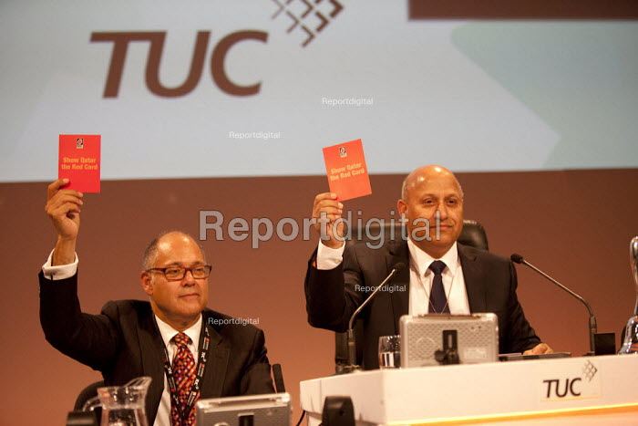 TUC shows Qatar the red card, and voted unanimously for Motion 75 Qatar to strip Qatar of the World Cup in protest at the exploitation of migrant workers TUC, Liverpool 2014 - John Harris - 2014-09-10