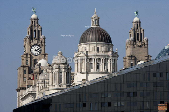 The Royal Liver Building and Mann Island, UNESCO World Heritage waterfront, Liverpool 2014 - John Harris - 2014-09-10