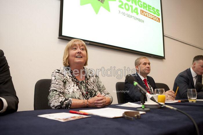 Denise McGuire Prospect. John Hannett Gen Sec USDAW, Mike Clancy Gen Sec Prospect, Prospect Fringe meeting TUC, Liverpool 2014 - John Harris - 2014-09-09