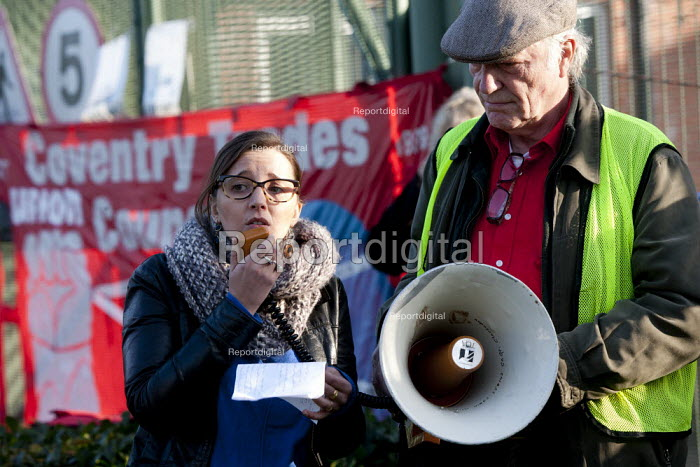 Laure Blondel of Open Access Now Campaign, France. NO MORE DETENTION! 21st anniversary protest by Campaign to Close Campsfield against IRC Campsfield House Immigration Removal Centre and plans to extend the facility, Kidlington, Oxfordshire - John Harris - 2014-11-29