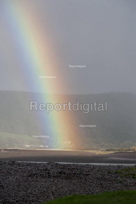 Rainbow, breached Porlock Ridge and Saltmarsh, Porlock Bay, Somerset - John Harris - 2014-11-08