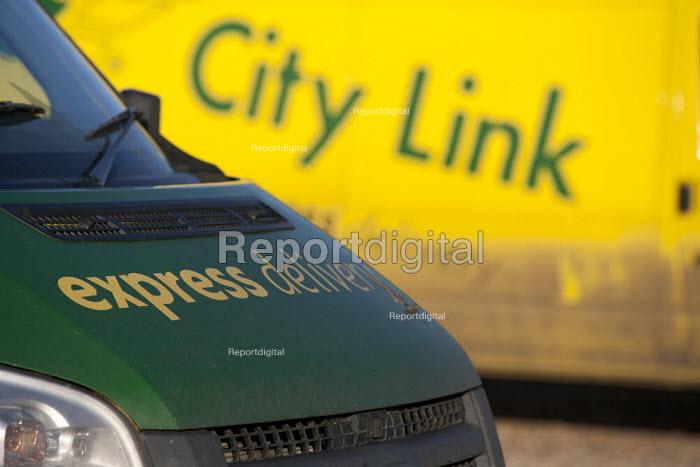 Empty City Link vans, closed distribution centre, Coventry - John Harris - 2014-12-30