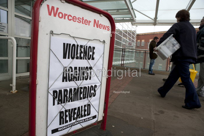 Newspaper headline outside Worcestershire Royal Hospital, Worcester: Paramedics from West Midlands Ambulance Service are at risk of being verbally abused or assaulted at more than 40 homes in Worcestershire. - John Harris - 2015-03-13