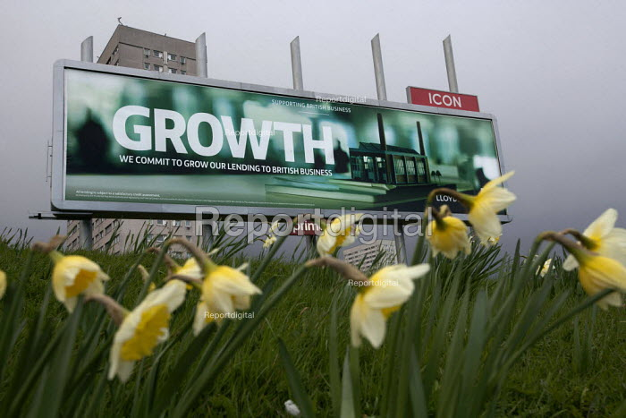 Growth, a Lloyds bank advertisement advertising lending to British business, with a model of a factory, Birmingham - John Harris - 2015-04-01