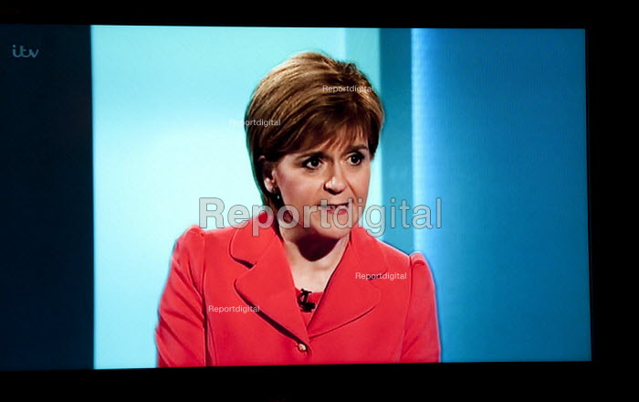 Nicola Sturgeon SNP. Stills from a TV showing The ITV Leaders' Debate watched by more than 7 million, UK General Election Campaign television program. - John Harris - 2015-04-02