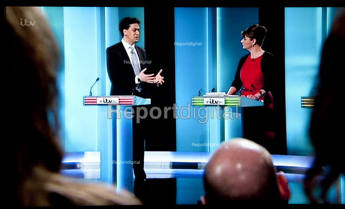 Ed Miliband, Labour Party, Leanne Wood, Plaid Cymru and studio audience. Stills from a TV showing The ITV Leaders' Debate watched by more than 7 million, UK General Election Campaign television program. - John Harris - 2015-04-02