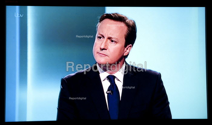 David Cameron Conservatives. Stills from a TV showing The ITV Leaders' Debate watched by more than 7 million, UK General Election Campaign television program. - John Harris - 2015-04-02
