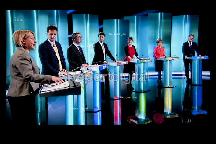 Natalie Bennett Green Party, Nick Clegg Liberal Democrats, Nigel Farage UKIP, Ed Miliband, Labour Party, Leanne Wood Plaid Cymru, Nicola Sturgeon SNP, David Cameron Conservatives. Stills from a TV showing The ITV Leaders' Debate watched by more than 7 million, UK General Election Campaign television program. - John Harris - 2015-04-02