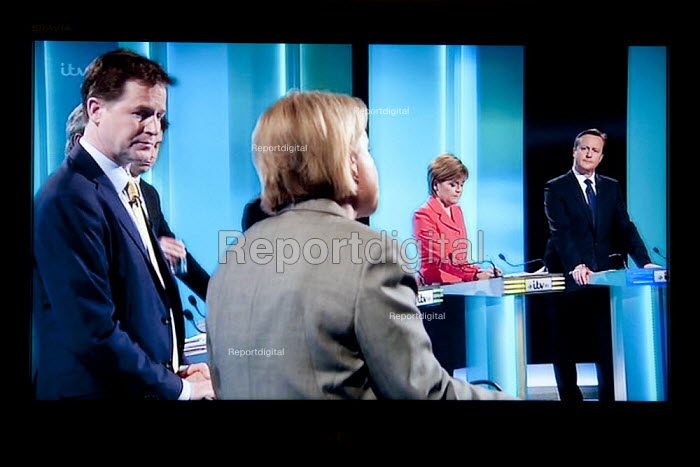 Natalie Bennett Green Party, Nick Clegg Liberal Democrats, Nicola Sturgeon SNP, David Cameron Conservatives. Stills from a TV showing The ITV Leaders' Debate watched by more than 7 million, UK General Election Campaign television program. - John Harris - 2015-04-02