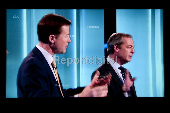 Nick Clegg Liberal Democrats, Nigel Farage UKIP. Stills from a TV showing The ITV Leaders' Debate watched by more than 7 million, UK General Election Campaign television program. - John Harris - 2015-04-02