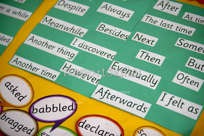 Classroom wall display of English words, St Richard's First School - John Harris - 2015-06-11