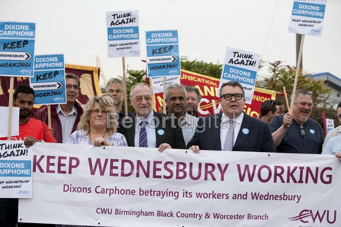 Adrian Bailey MP and Tom Watson MP Keep Wednesbury Working. CWU activists and members protest outside Dixons Carphone distribution centre, Wednesbury against 500 job losses - John Harris - 2015-06-12