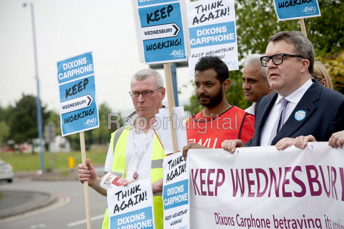Tom Watson MP Keep Wednesbury Working. CWU activists and members protest outside Dixons Carphone distribution centre, Wednesbury against 500 job losses - John Harris - 2015-06-12