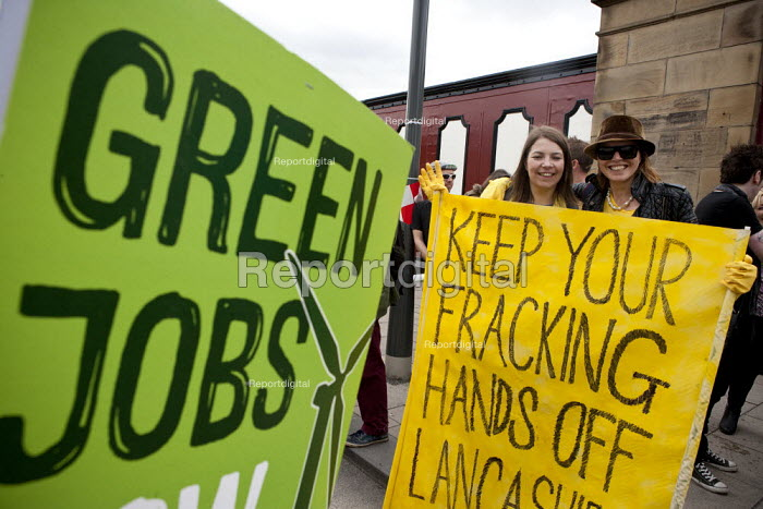 Green Jobs. The Frack Stops Here! Protest lobby against Fracking in Lancashire where the council is meeting to consider an application by Gas exploration company Cuadrilla to do so. Preston - John Harris - 2013-04-29