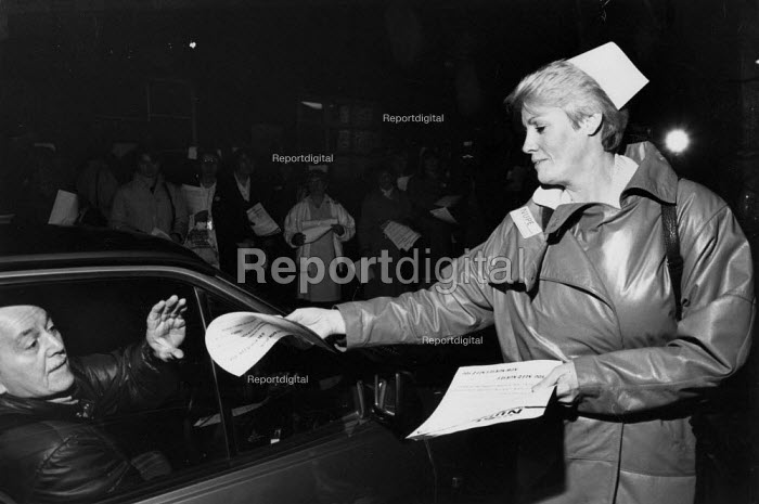 First strike by nurses in the UK - 24 hour strike in response to pay cuts, abolishing shift allowance. Northern General Hospital Manchester. - John Harris - 1988-01-07
