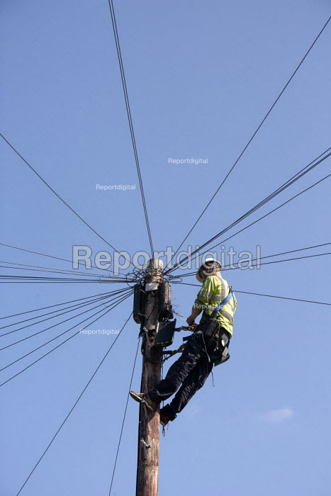 A BT engineer repairing a telephone line up a telegraph pole. - John Harris - 2015-07-09