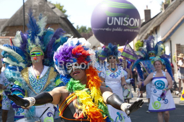 Unison dancers and drummers, Tolpuddle Martyrs Festival. Dorset - John Harris - 2015-07-19